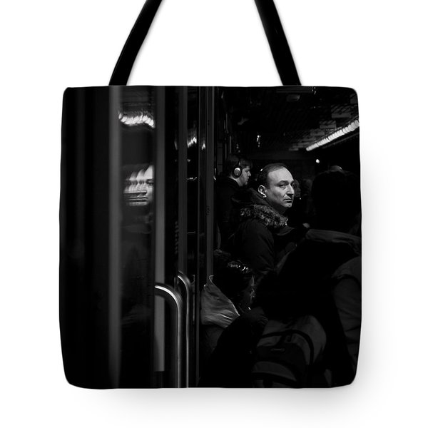 Tote Bag featuring the photograph Toronto Subway Reflection by Brian Carson