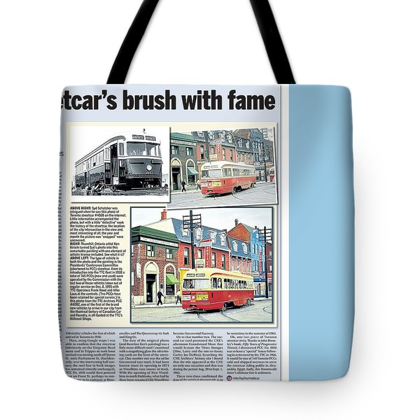 Tote Bag featuring the painting Toronto Sun Article Streetcars Brush With Fame by Kenneth M Kirsch
