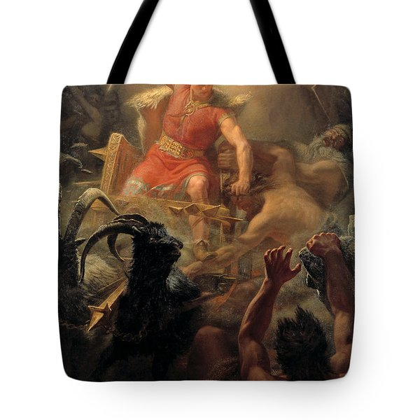 Tor's Fight With The Giants Tote Bag