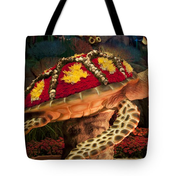 Tortoise With Flowers Tote Bag