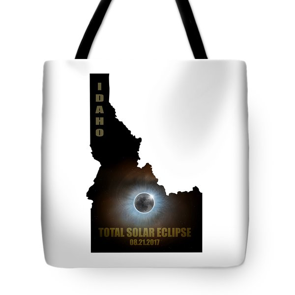 Total Solar Eclipse In Idaho Map Outline Tote Bag by David Gn