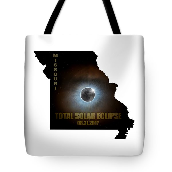 Total Solar Eclipse In Missouri Map Outline Tote Bag by David Gn