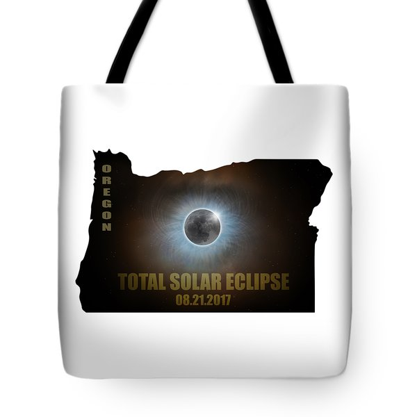 Total Solar Eclipse In Oregon Map Outline Tote Bag by David Gn