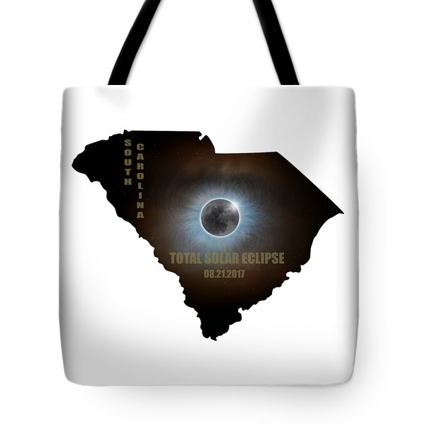 Total Solar Eclipse In South Carolina Map Outline Tote Bag by David Gn
