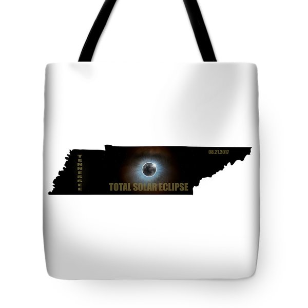 Total Solar Eclipse In Tennessee Map Outline Tote Bag by David Gn
