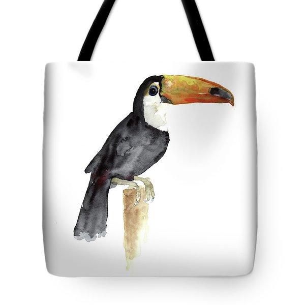 Toucan Watercolor Painting Tropical Bird Kids Playroom Art Prin Tote Bag
