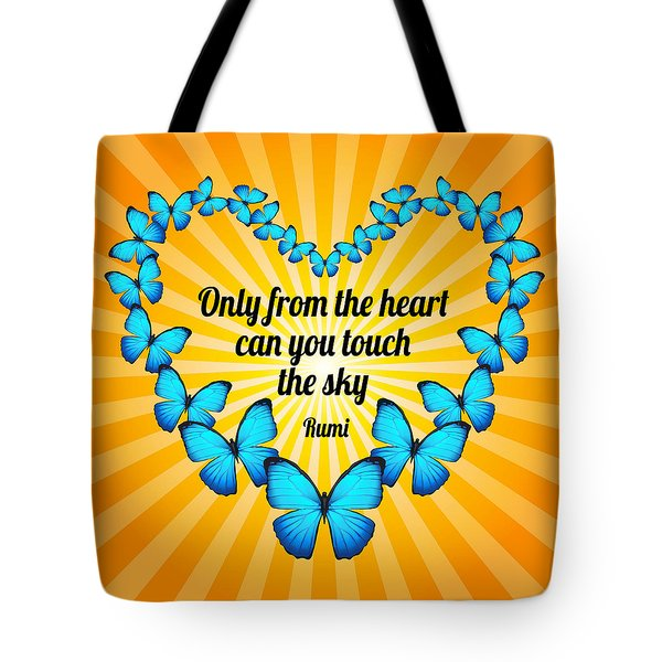Tote Bag featuring the digital art Touch The Sky With Rumi's Heart Butterflies by Ginny Gaura