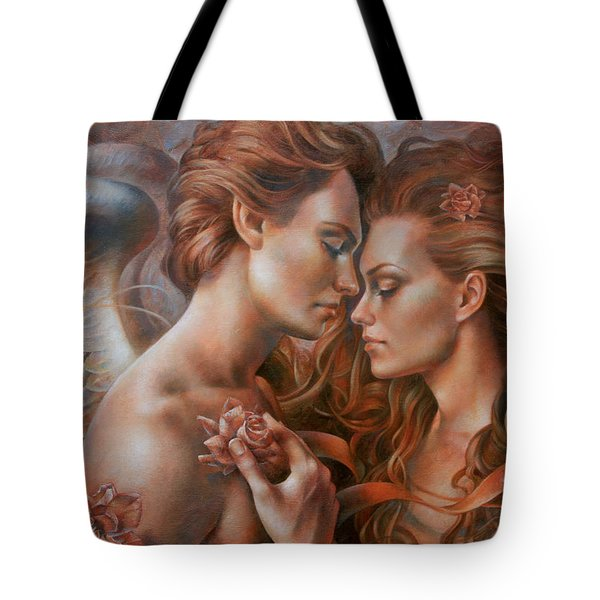 Touched By Angel Tote Bag by Arthur Braginsky