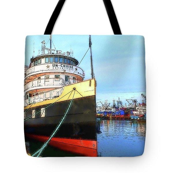 Tour Boat At Dock Tote Bag