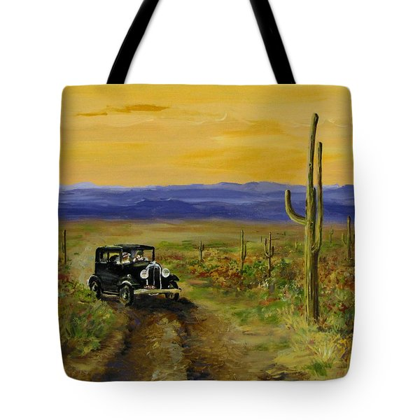 Tote Bag featuring the painting Touring Arizona by Jack Skinner