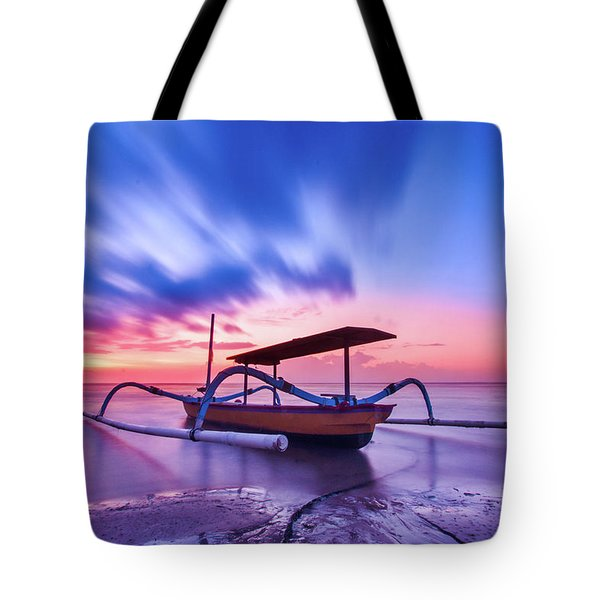Tourist Boat On The Beach, Summer Cloudy Sunset Tote Bag
