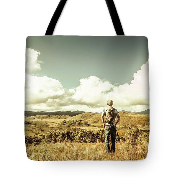 Tourist With Backpack Looking Afar On Mountains Tote Bag