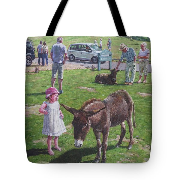 Tote Bag featuring the painting Tourists At Boltons Bench New Forest  by Martin Davey