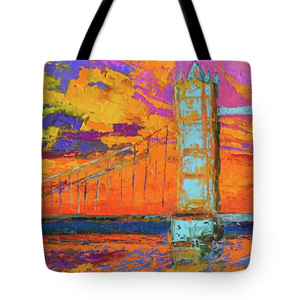 Tote Bag featuring the painting Tower Bridge Colorful Painting, Under Vibrant Sunset by Patricia Awapara