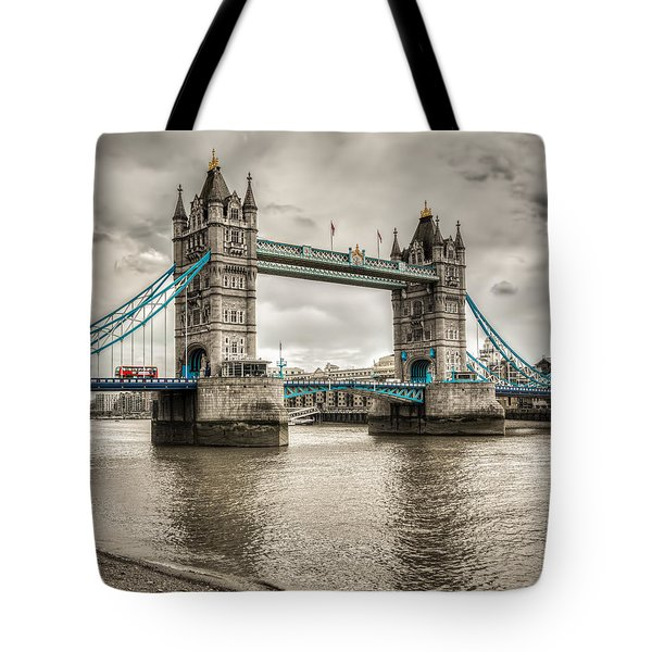 Tower Bridge In London In Selective Color Tote Bag