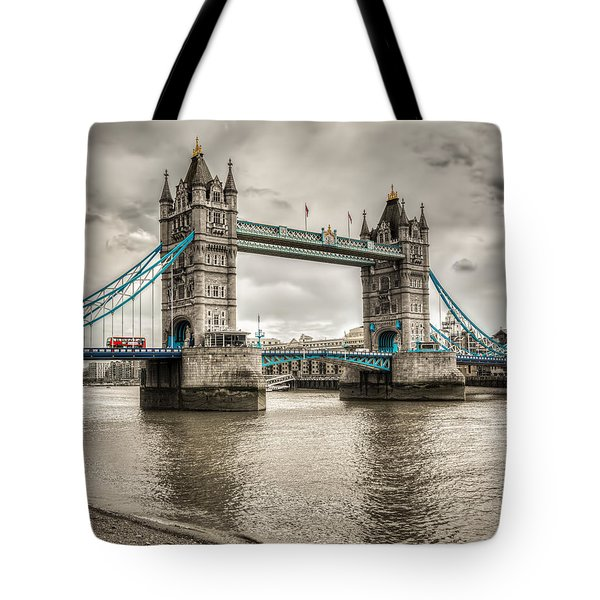 Tower Bridge In London In Selective Color Tote Bag