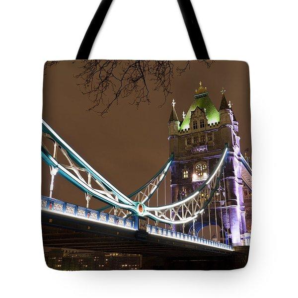Tower Bridge Lights Tote Bag by Rae Tucker