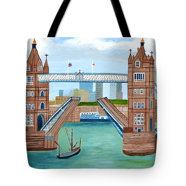 Tote Bag featuring the painting Tower Bridge London by Magdalena Frohnsdorff
