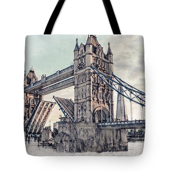 Tote Bag featuring the digital art Tower Bridge by Pennie  McCracken