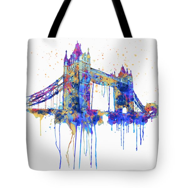 Tower Bridge Watercolor Tote Bag by Marian Voicu