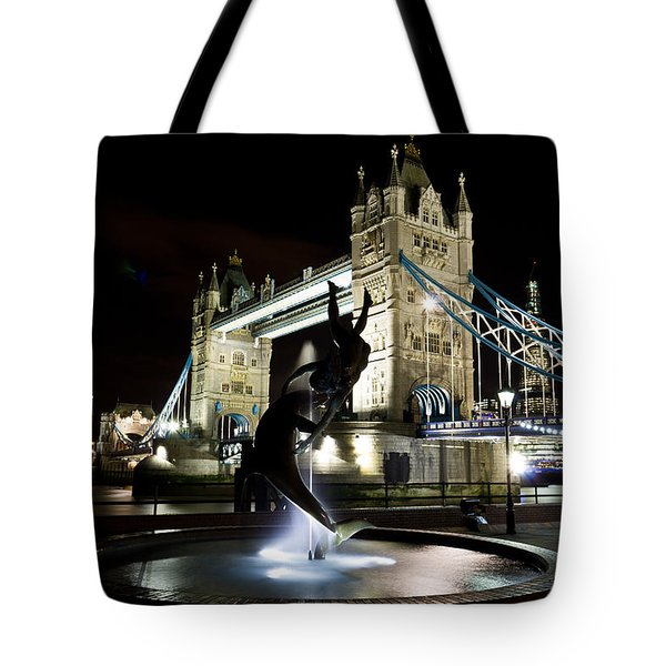 Tower Bridge With Girl And Dolphin Statue Tote Bag