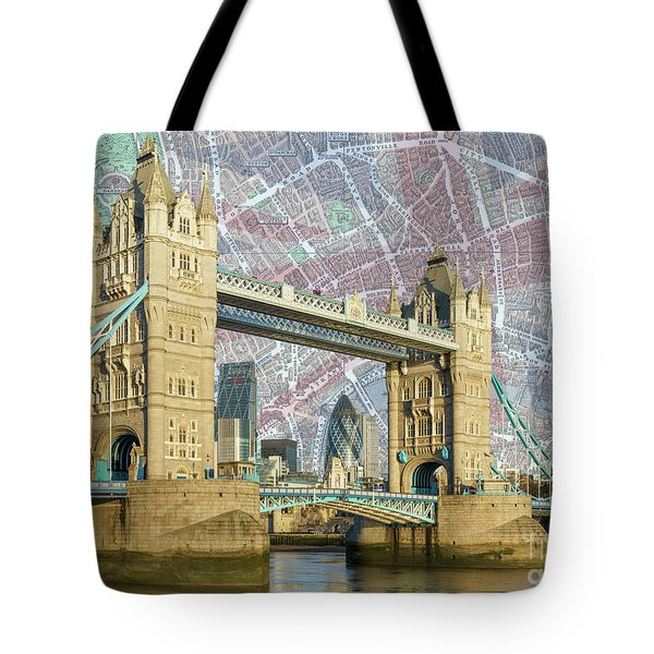 Tote Bag featuring the digital art Tower Bridge With Union Jack by Adam Spencer