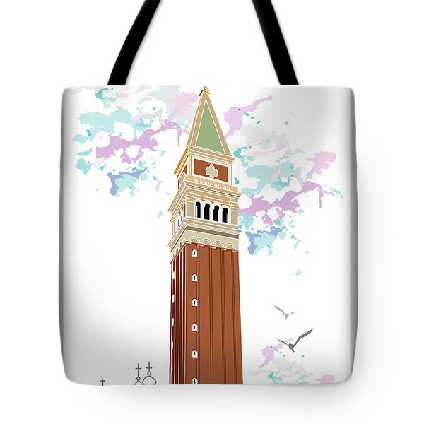 Tower Of Campanile In Venice Tote Bag