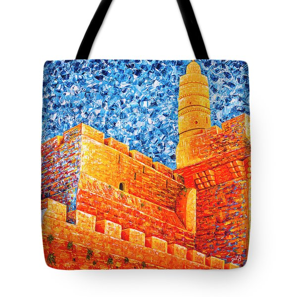 Tote Bag featuring the painting Tower Of David At Night Jerusalem Original Palette Knife Painting by Georgeta Blanaru