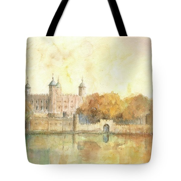 Tower Of London Watercolor Tote Bag