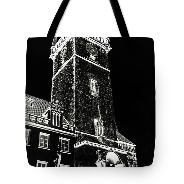 Tote Bag featuring the photograph Tower Of Old Town Hall In Prague. Black by Jenny Rainbow