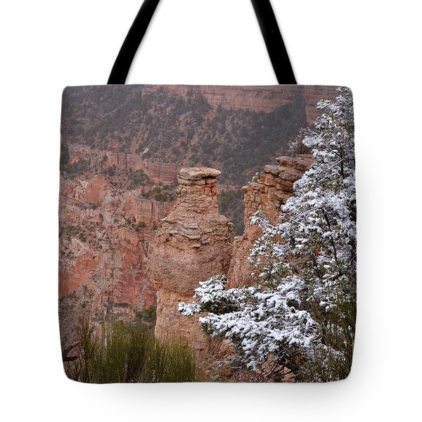Towers In The Snow Tote Bag by Debby Pueschel