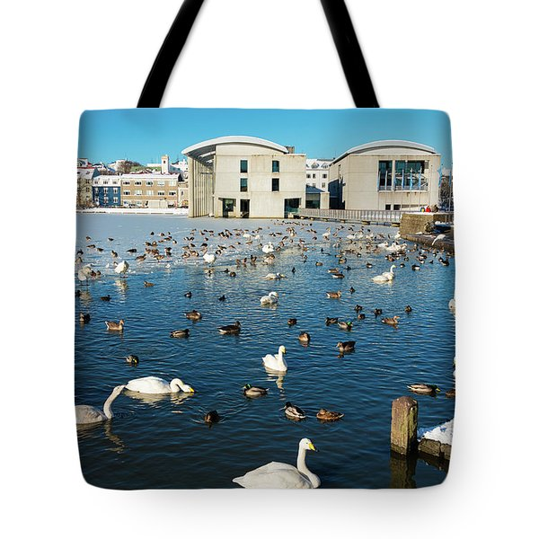 Tote Bag featuring the photograph Town Hall And Swans In Reykjavik Iceland by Matthias Hauser