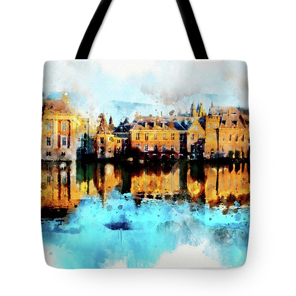 Tote Bag featuring the digital art Town Life In Watercolor Style by Ariadna De Raadt