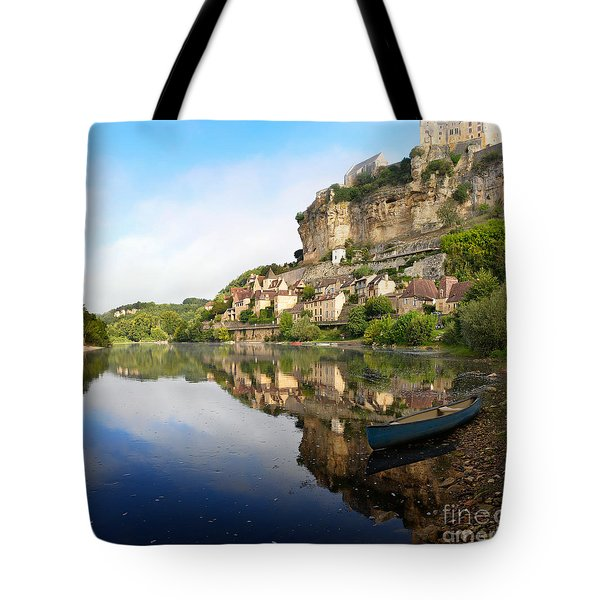 Tote Bag featuring the photograph Town Of Beynac-et-cazenac Alongside Dordogne River by IPics Photography