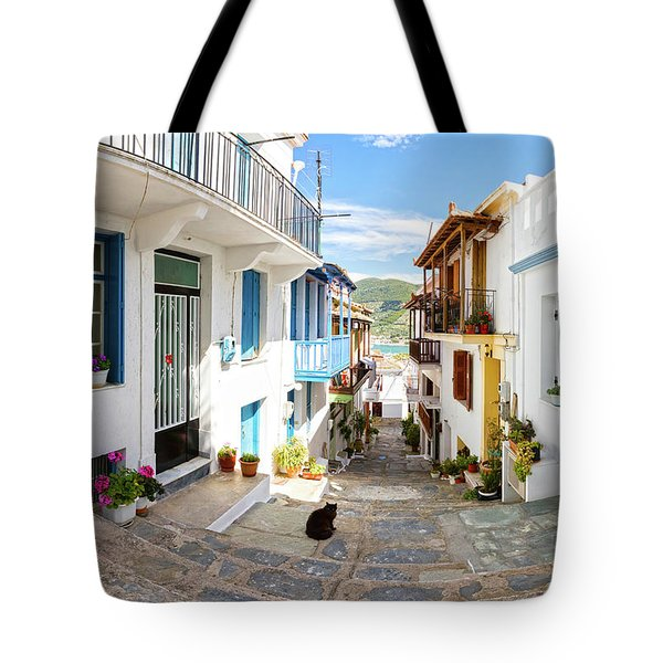 Town Of Skopelos Tote Bag by Evgeni Dinev