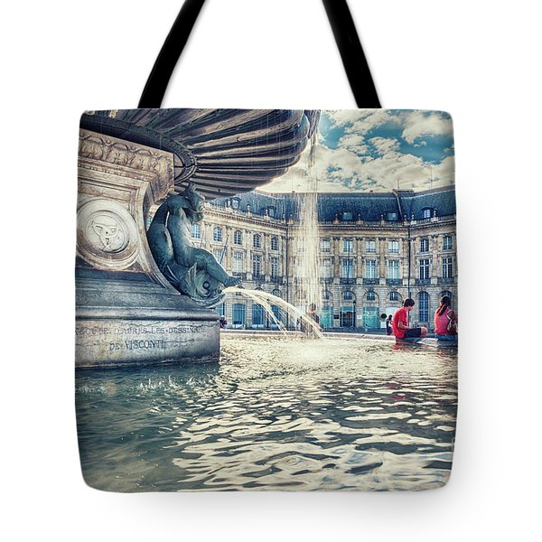 Tote Bag featuring the photograph Town Square In Bordeaux City - De La Bourse S Founta by Ariadna De Raadt