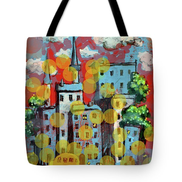 Town With A School Bus Tote Bag