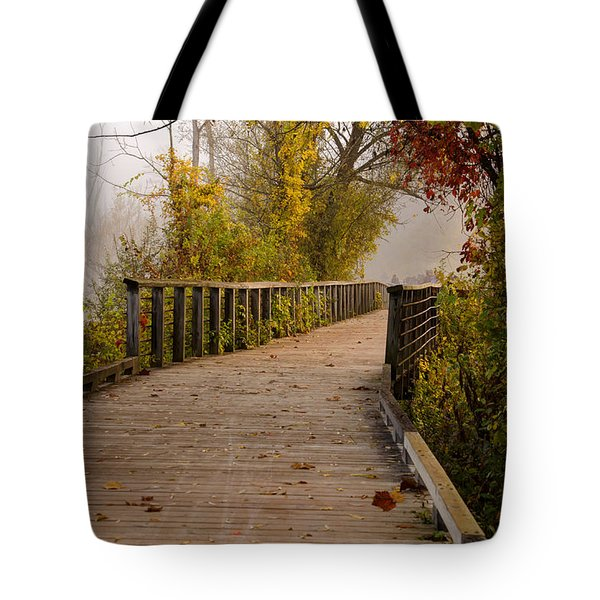 Towpath Trail Boardwalk Tote Bag by Ann Bridges