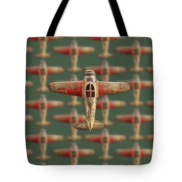 Tote Bag featuring the photograph Toy Airplane Scrapper Pattern by YoPedro