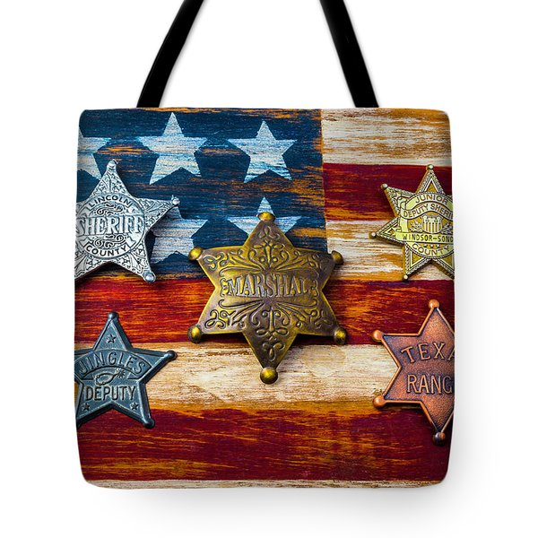 Toy Badges On America Flag Tote Bag