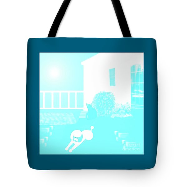 Toy Poodle Louie And Black Cat Jessica In The Yard Tote Bag