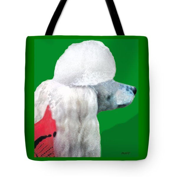 Toy Poodle Louie In His Red Sweater Tote Bag by Marian Cates