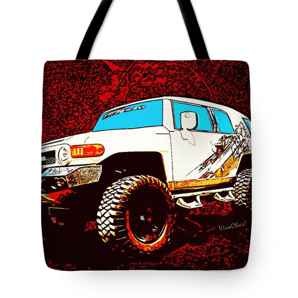 Toyota Fj Cruiser 4x4 Cartoon Panel From Vivachas Tote Bag