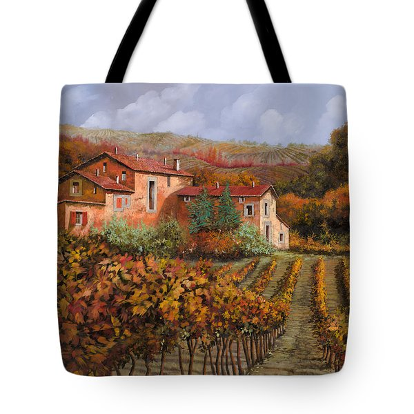 Tote Bag featuring the painting tra le vigne a Montalcino by Guido Borelli