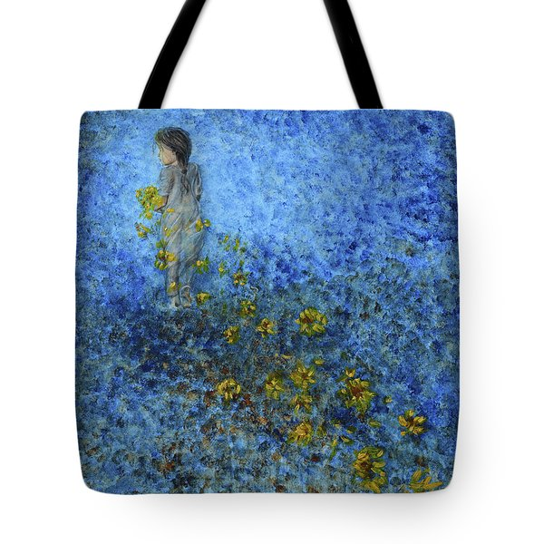 Tote Bag featuring the painting Traces Sunflowers Lost by Nik Helbig