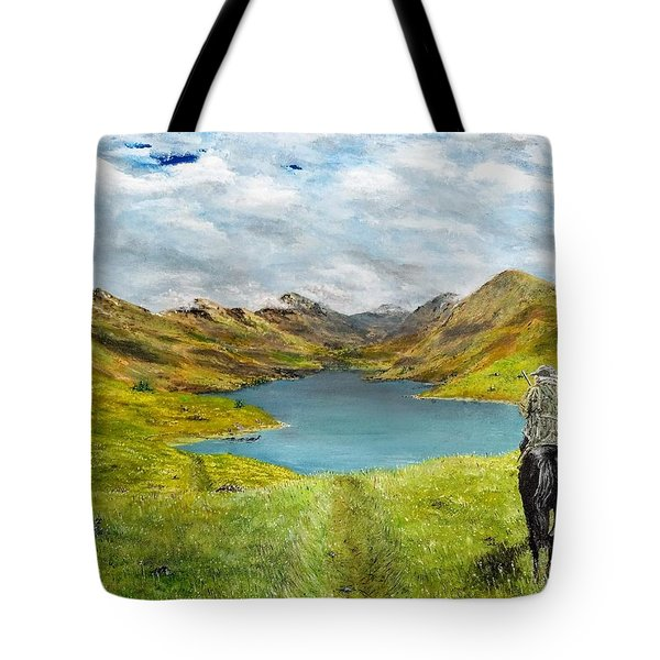 Tote Bag featuring the painting Tracking Niseag by Kevin Daly