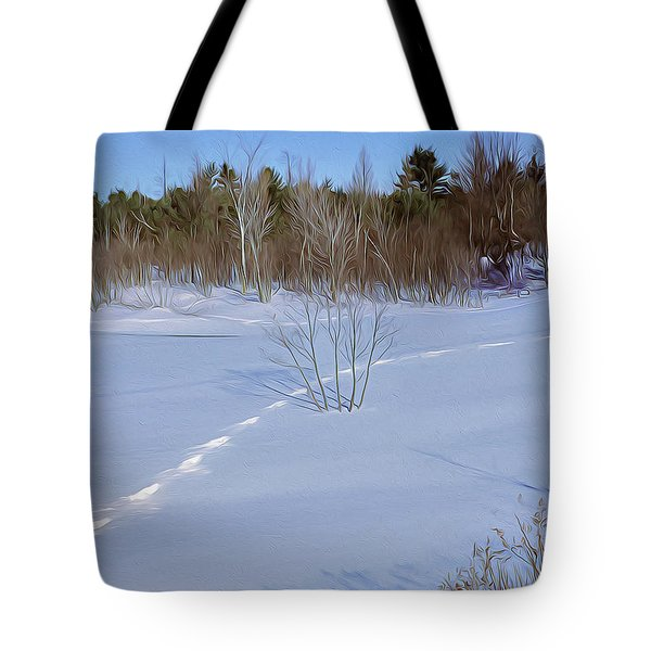 Tote Bag featuring the tapestry - textile Tracks In The Snow by Dennis Bucklin