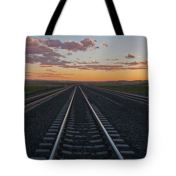 Tracks Into Sunset Tote Bag