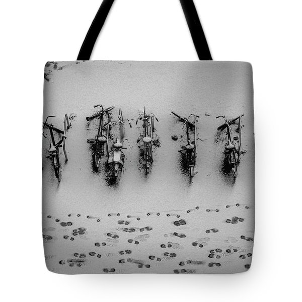 Tote Bag featuring the photograph Tracks N Bicycles by Hans Janssen