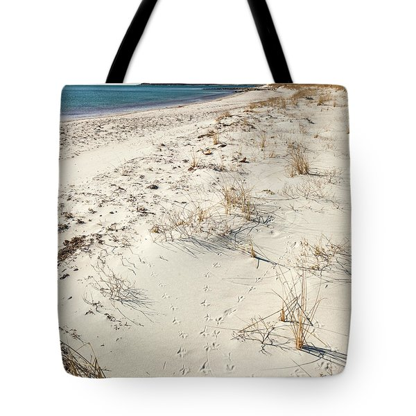 Tote Bag featuring the photograph Tracks On The Beach by Michelle Wiarda
